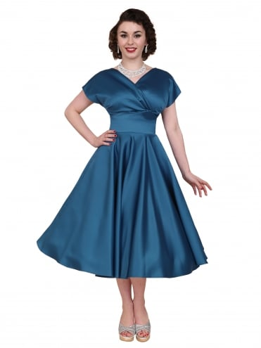 40s-1940s-Vivien-of-Holloway-Best-Vintage-Reproduction-Grace-Wrap-Circle-Dress-Petrol-Blue-Duchess-Satin-Hollywood-Swing-Pinup