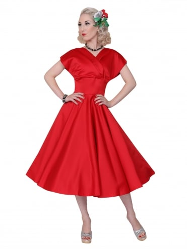 40s-1940s-Vivien-of-Holloway-Best-Vintage-Reproduction-Grace-Wrap-Circle-Dress-Red-Duchess-Satin-Hollywood-Swing-Pinup
