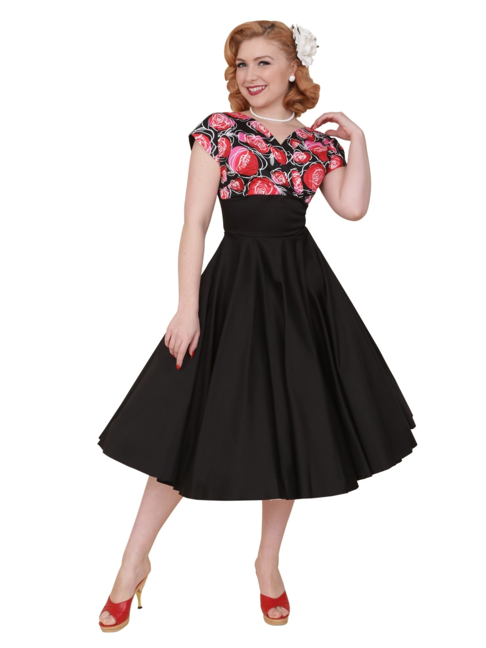 Grace Dress Red Rose Bust from Vivien of Holloway