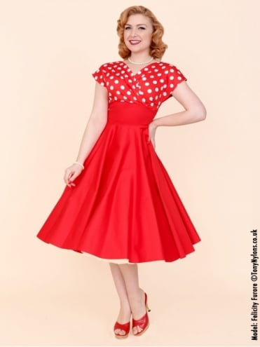 Grace Red White Polka Bust Dress