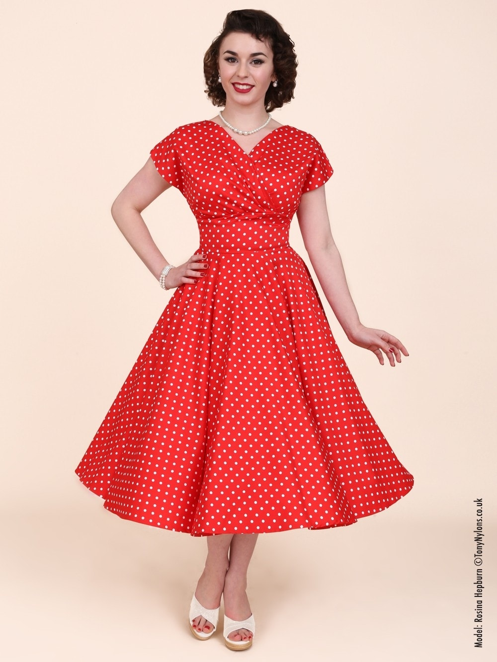 Grace Dress Red White Spot From Vivien Of Holloway