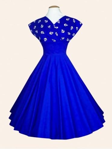 Grace Royal Anchor Bust Royal Sateen Dress