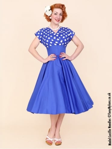 40s-1940s-Vivien-of-Holloway-Best-Vintage-Reproduction-Grace-Wrap-Circle-Dress-Royal-Blue-White-Polka-Polkadot-Hollywood-Swing-Pinup