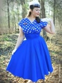 Grace Royal White Polka Bust Dress