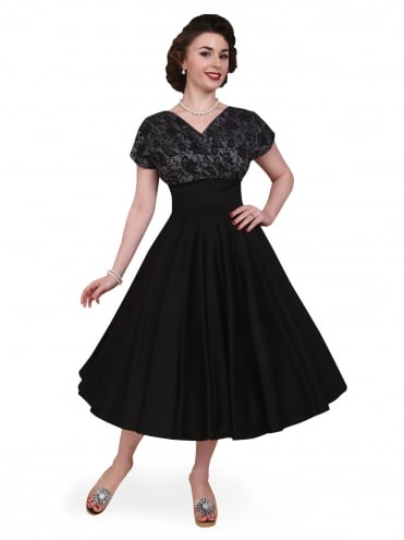 40s-1940s-Vivien-of-Holloway-Best-Vintage-Reproduction-Grace-Wrap-Circle-Dress-Black-Silver-Lace-Hollywood-Swing-Pinup