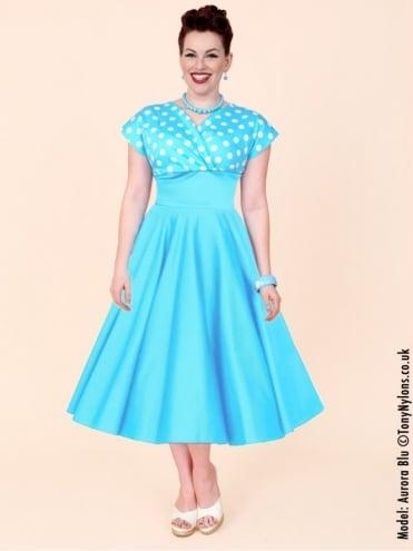 Grace Turquoise White Polka Bust Dress