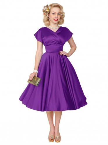 40s-1940s-Vivien-of-Holloway-Best-Vintage-Reproduction-Grace-Wrap-Circle-Dress-violet-Duchess-Satin-Hollywood-Swing-Pinup