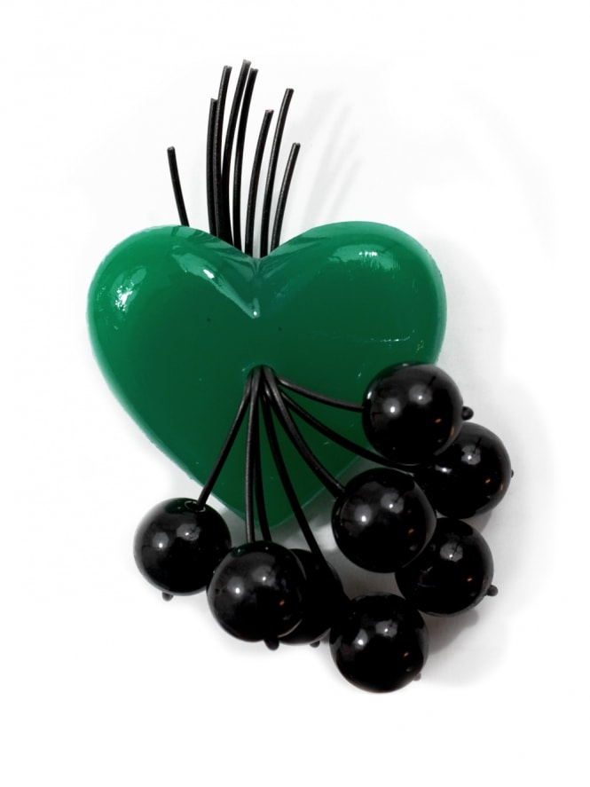 Green Sweetheart Brooch with Black Cherries
