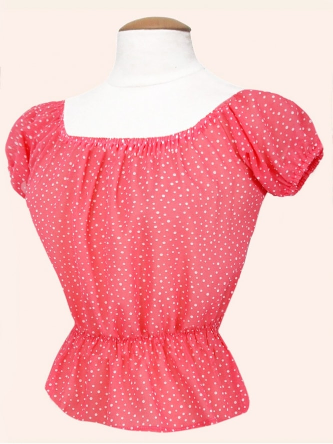 Vivien-of-holloway-1950s-1940s-pinupgirl-rockabilly-swing-Floral-Coral-chiffon-dot-Gypsy-top-peasant-top-marilyn-monroe
