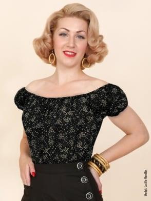 Gypsy Top Classic Floral Black Chiffon