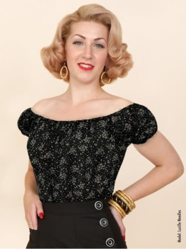 Vivien-of-holloway-1950s-1940s-pinupgirl-rockabilly-swing-Floral-black-chiffon-Gypsy-top-peasant-top-marilyn-monroe