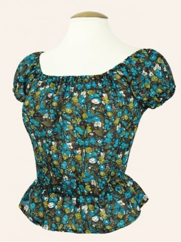 Vivien-of-holloway-1950s-1940s-pinupgirl-rockabilly-swing-Floral-Turquoise-chiffon-Gypsy-top-peasant-top-marilyn-monroe