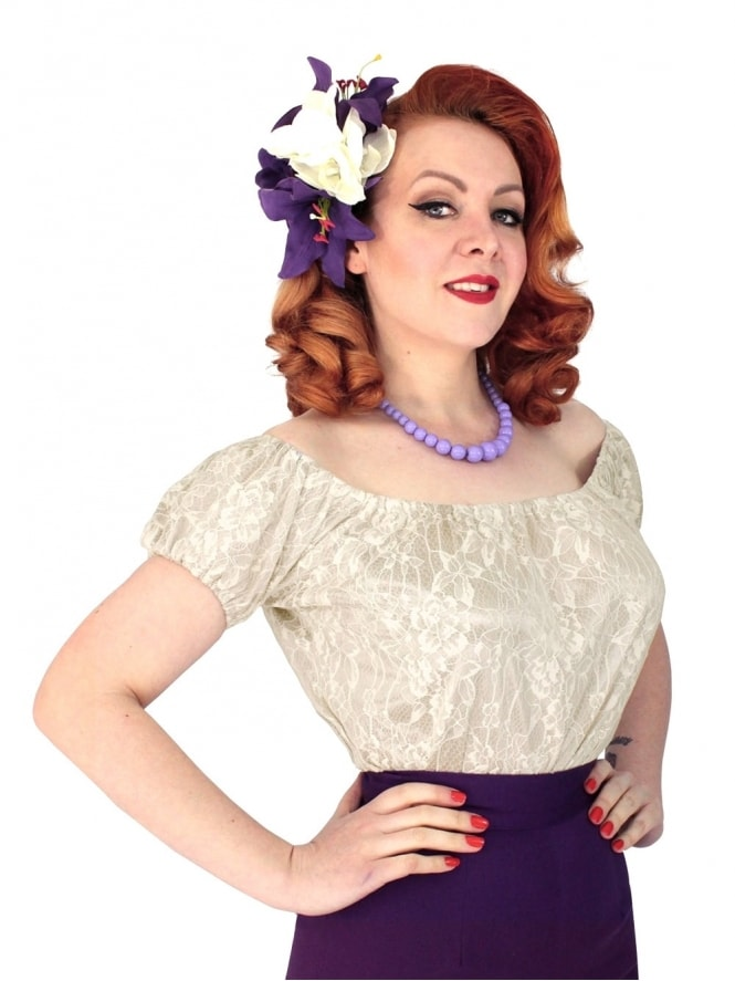 Vivien-of-Holloway-1950s-1940s-pinupgirl-rockabilly-swing-Antique-lace-gypsy-top
