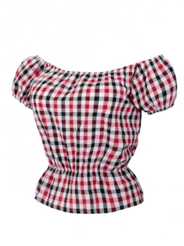 Gypsy Top Classic Seersucker Black Red Check