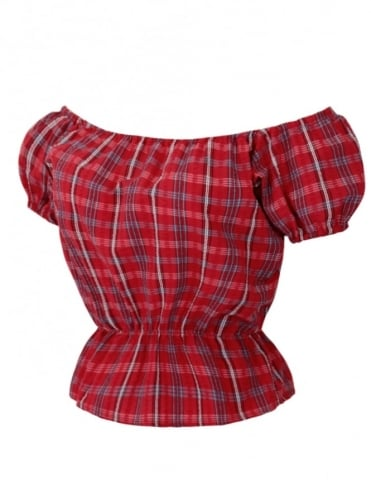 Gypsy Top Classic Seersucker Check Red
