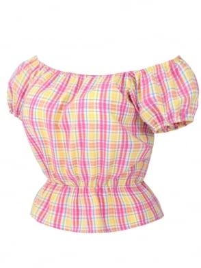 Gypsy Top Classic Seersucker Pink Yellow