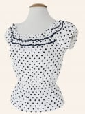 Gypsy Top Classic White Navy Spot