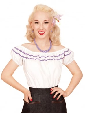 Gypsy Top Classic White Small Lilac Trim