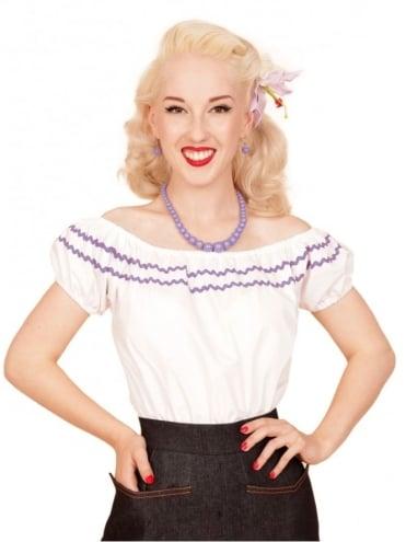 Gypsy Top Classic White Small Lilac Trim