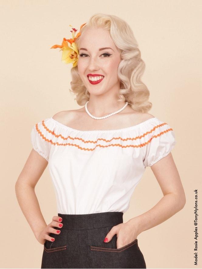 Gypsy Top Classic White Small Orange Trim