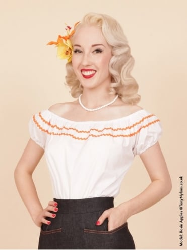 Gypsy Top Classic White Small Orange Trim