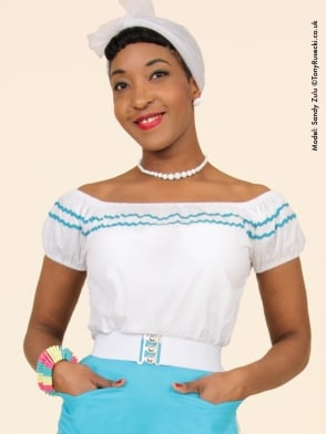 Gypsy Top Classic White Small Turquoise Trim