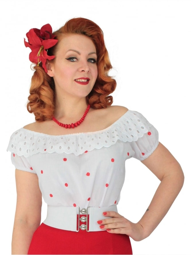 Gypsy Top Classic White with Red Embroidered Spots