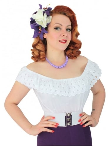 Gypsy Top Classic White with White Embroidered Spots