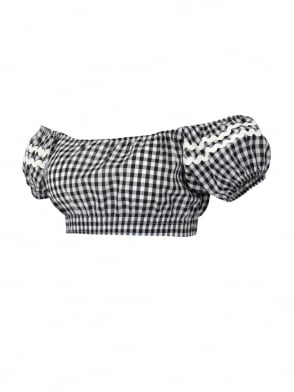 Gypsy Top Cropped Black Gingham