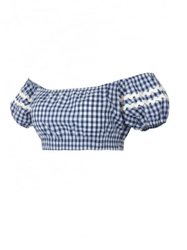 Gypsy Top Cropped Blue Gingham