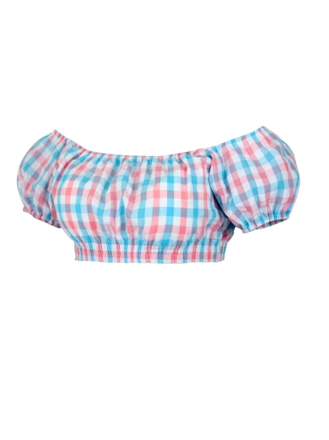 Gypsy Top Cropped Blue Pink Check