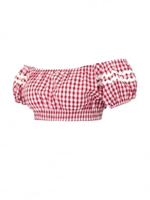Gypsy Top Cropped Red Gingham