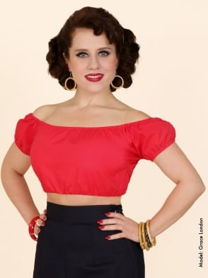 Gypsy Top Cropped Red