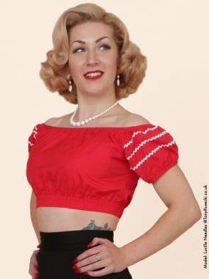 Gypsy Top Cropped Red White Triple Trim