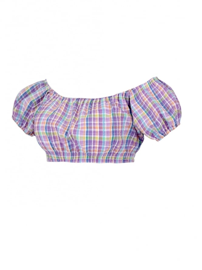 Gypsy Top Cropped Seersucker Check Lilac
