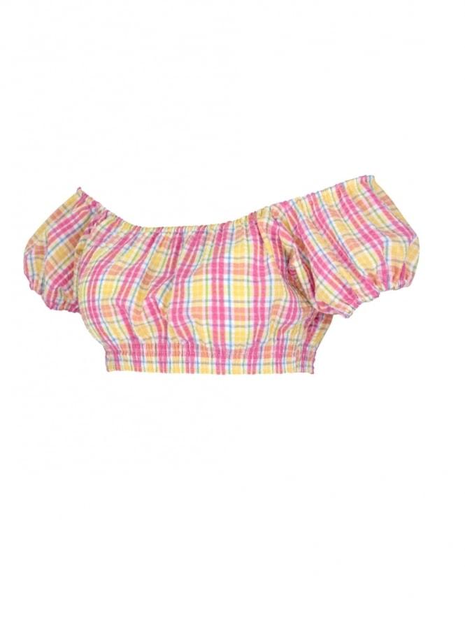 Gypsy Top Cropped Seersucker Pink Yellow