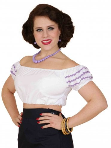 Gypsy Top Cropped White Lilac Trim
