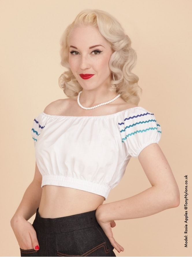Gypsy Top Cropped White Turquoise Trio Trim
