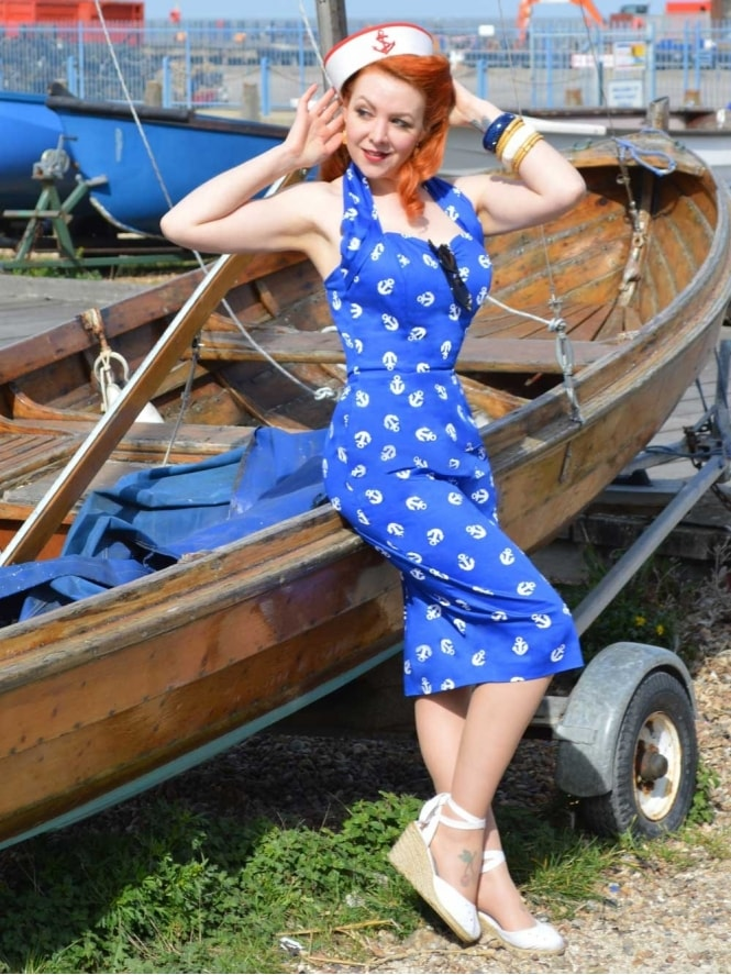Halterneck Pencil Anchors Aweigh Dress