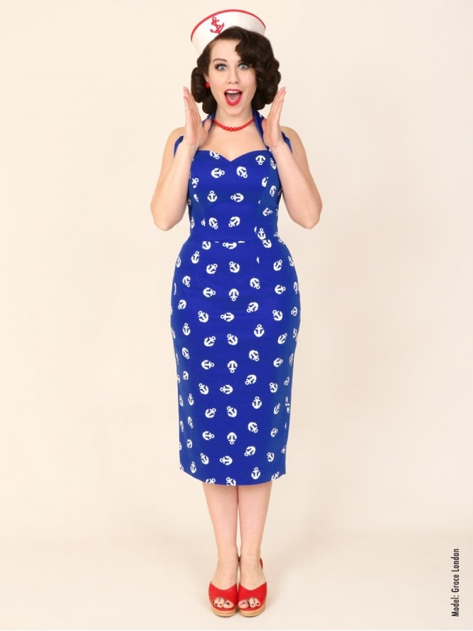 50s-1950s-Vivien-of-Holloway-Best-Vintage-Reproduction-Halterneck-Pencil-Wiggle-Dress-Blue-Anchor-Sailor-Cotton-Rockabilly-Pinup