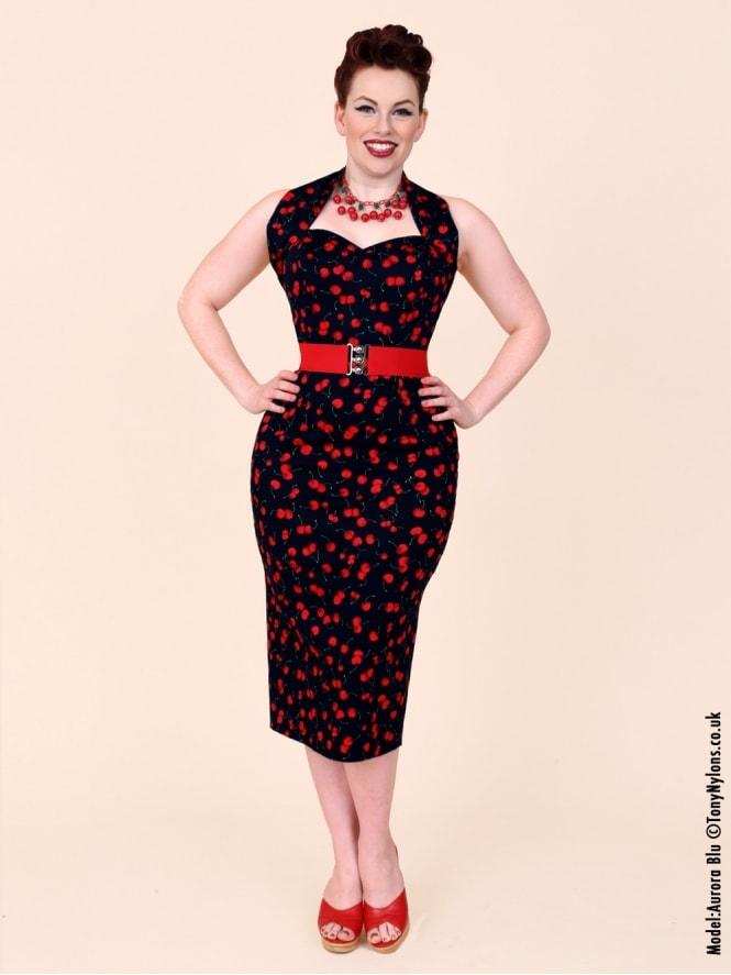 1950s Halterneck Pencil Black Cherry Dress From Vivien Of