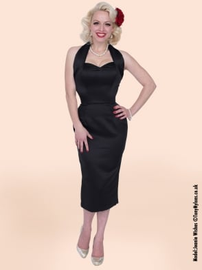 Halterneck Pencil Black Duchess Dress