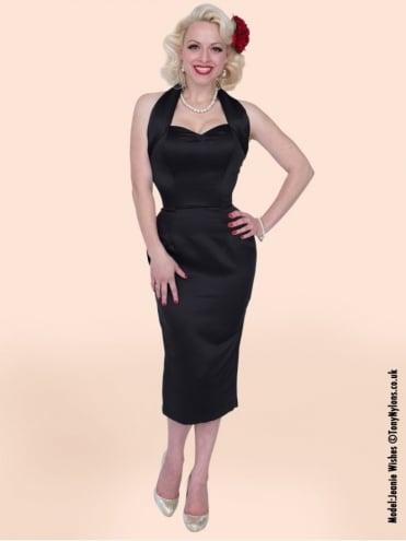 Halterneck Pencil Black Duchess Dress