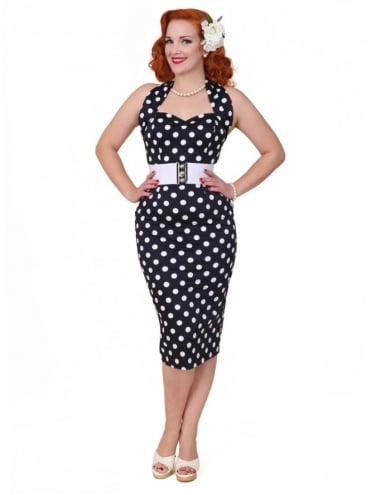 50s-1950s-Vivien-of-Holloway-Best-Vintage-Reproduction-Halterneck-Pencil-Wiggle-Dress-Black-White-Polkadot-Rockabilly-Pinup