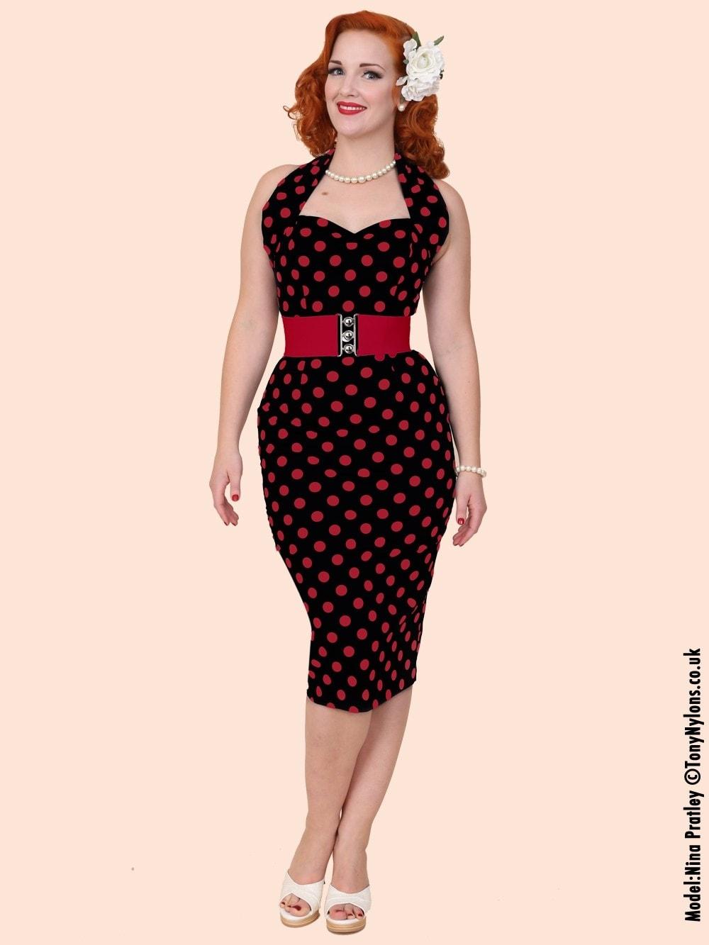 f7e6d9a7b9b 1950s Halterneck Pencil Dress Black Red Polka from Vivien of Holloway