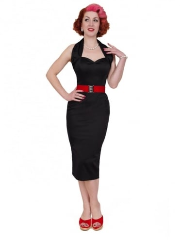 Halterneck Pencil Black Sateen Dress