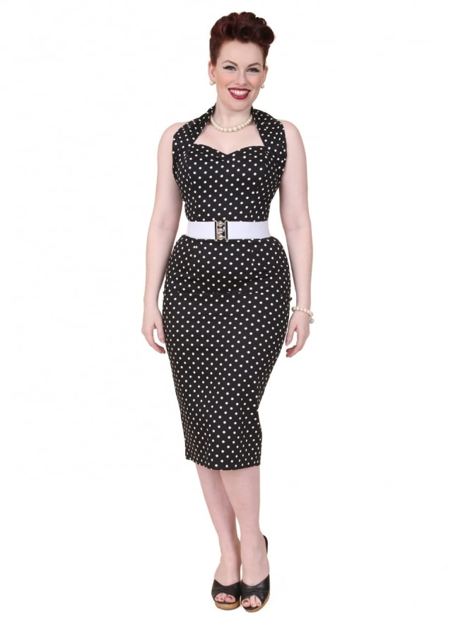 50s-1950s-Vivien-of-Holloway-Best-Vintage-Reproduction-Halterneck-Pencil-Wiggle-Dress-Black-White-Spot-Rockabilly-Pinup