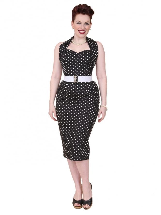 50s-1950s-Vivien-of-Holloway-Best-Vintage-Reproduction-Halterneck-Pencil-Wiggle-Dress-Black-White-Spot-Rockabilly-Pinup