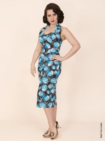 Halterneck Pencil Blue Rose Dress