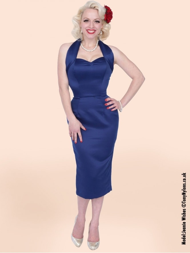 Halterneck Pencil Blueberry Duchess Dress